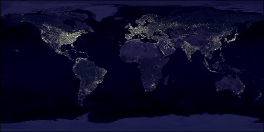 Earth lit up.