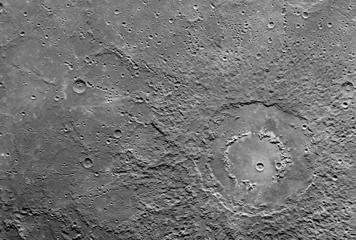 Ringed crater on the surface.